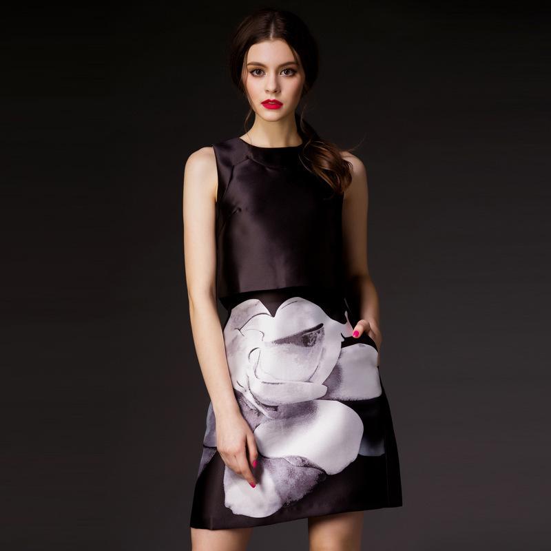 Famous brand new 2015 spring runway dress sleeveless O neck knee length print flower women dress high end vestidos(China (Mainland))