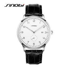 SINOBI Men's Casual Wrist Quartz-watch Black Leather Sliver Case Wristwatches Brand Gents Waterproof Watches Relogio Masculino
