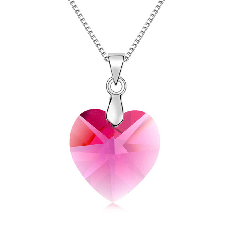 Hot New 2015 Fashion High Quality Heart Pendant Necklace Crystal from Swarovski Necklace Women Wedding Party Jewelry 492(China (Mainland))