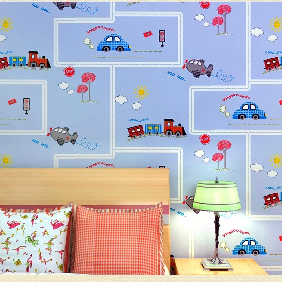 Buy cartoon cars wall paper for kids for Bedroom wallpaper sale