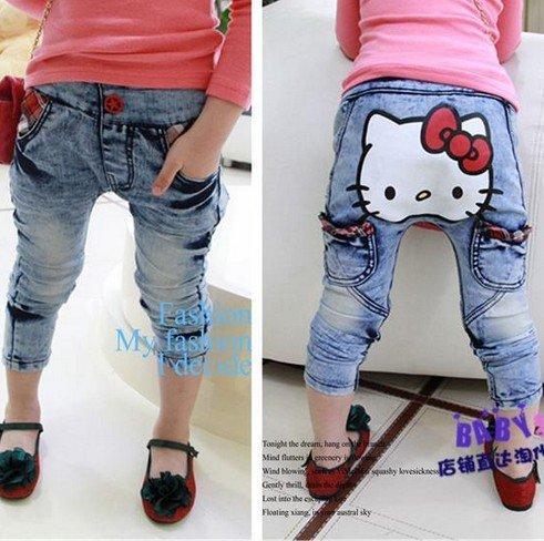 Free shipping baby Girls Cartoon Hello Cat Denim Pants Children Cotton Fashion Jeans Trousers 5pcs/lot<br><br>Aliexpress