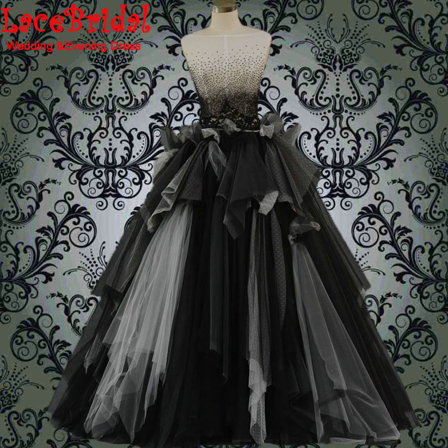 Real Witch Style Ivory and Black Ball Gown Beaded Wedding Dresses 2016 Gothic Ruffled Bridal Gowns Lace vestidos de noiva SW45(China (Mainland))