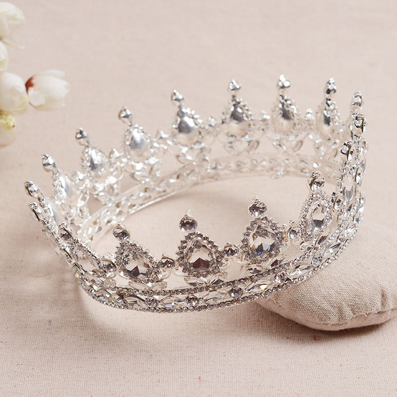 Hot European Designs Royal King Queen Crown Rhinestone Tiara Head Jewelry Quinceanera THSC-HG536 Z50(China (Mainland))