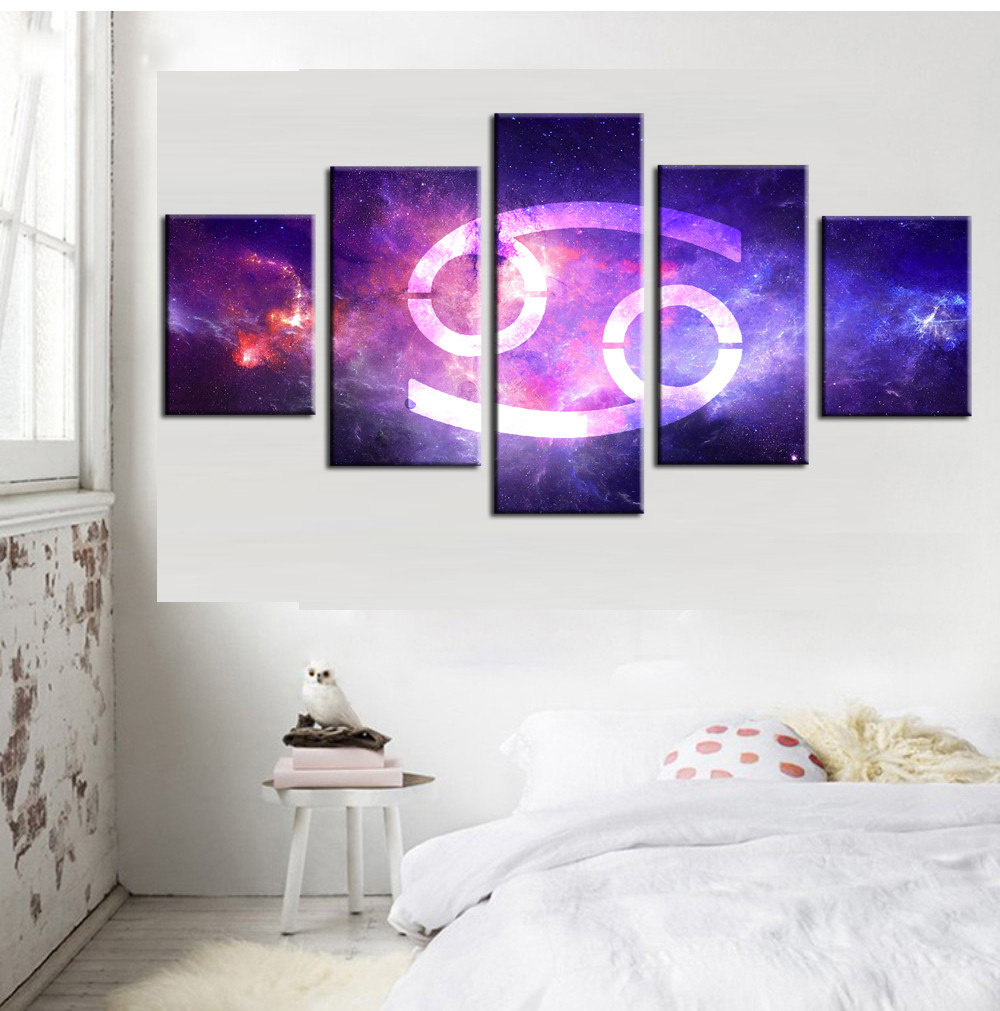 5 Panel The Family Decorates ASTROLOGY ZODIAC CANCER Print In The Oil Painting On Canvas Wall Art Picture Canvas Wall Art For L(China (Mainland))