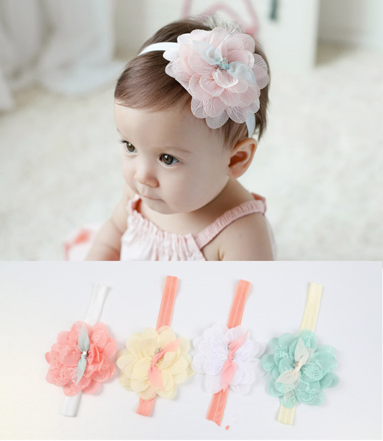 2016 New Hot Baby Girls Toddlers Newborn Photography Props Kids Infant Lace Flower Bebe Headband Hairband Hair Accessories Bow(China (Mainland))