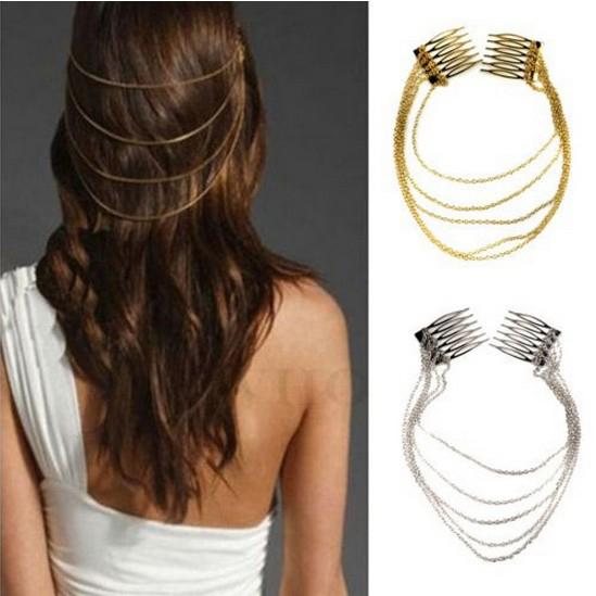 1PC Punk Hair Combs Tassel Chain Hair Cuff Pin Ladies Headband Rock Tassels Fringes Silver AND Gold A6R1C(China (Mainland))