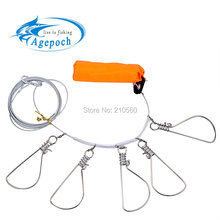 Agepoch Promotion! Hot Sale 5 Snap Stainless Steel Ropes Float Fish Stringer Fishing Lock for Accessories China Tackle(China (Mainland))