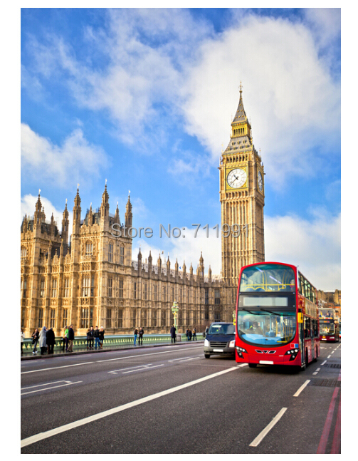 free shipping modern 3 d custom wallpaper murals ou english red london bus big ben porch sofa. Black Bedroom Furniture Sets. Home Design Ideas