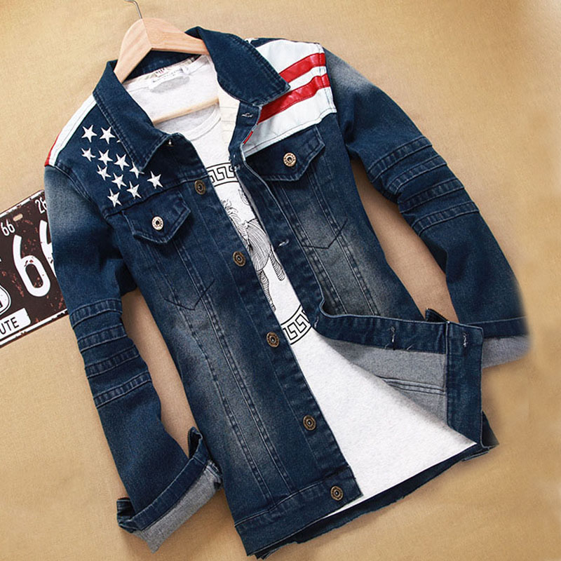 2016 New USA Design Mens Jeans Jackets American Army Style Man's Coat Slim Fit Causal Washed Denim Jacket Jaqueta Masculina(China (Mainland))