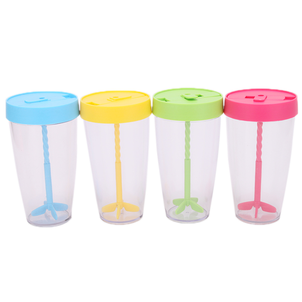 Plastic Manual Stirring Cup Coffee Protein Shaker Mug With Lids Hand Portable Cup Drinkware Outdoor Sports Novelty(China (Mainland))
