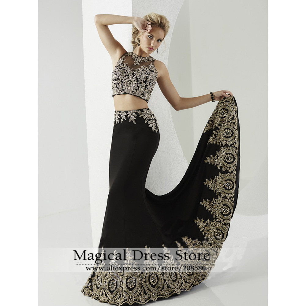 Black dress gold lace - Black Dress Gold Lace 9