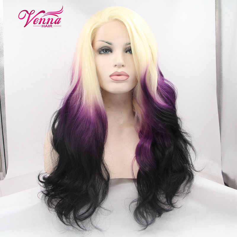 Fashion Natural Long Wave Three Tone Ombre Synthetic Wig Heat Resistant Blond/Purple/Black Hair Women Cosplay Wigs<br><br>Aliexpress