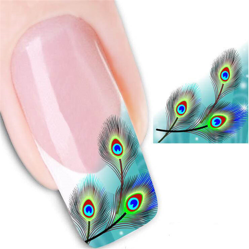 2Sheet Peacock Feather Design Nail Sticker Watermark Nail Tips Manicure Long-lasting Thin Nail Beauty Art Sticker Tools(China (Mainland))