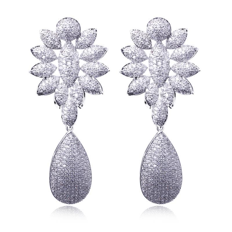 Love Deluxe Earrings-Luxury women earings flower girl for weddings Jewelry luxury cz earrings drop fashion jewelry Free shipping(China (Mainland))