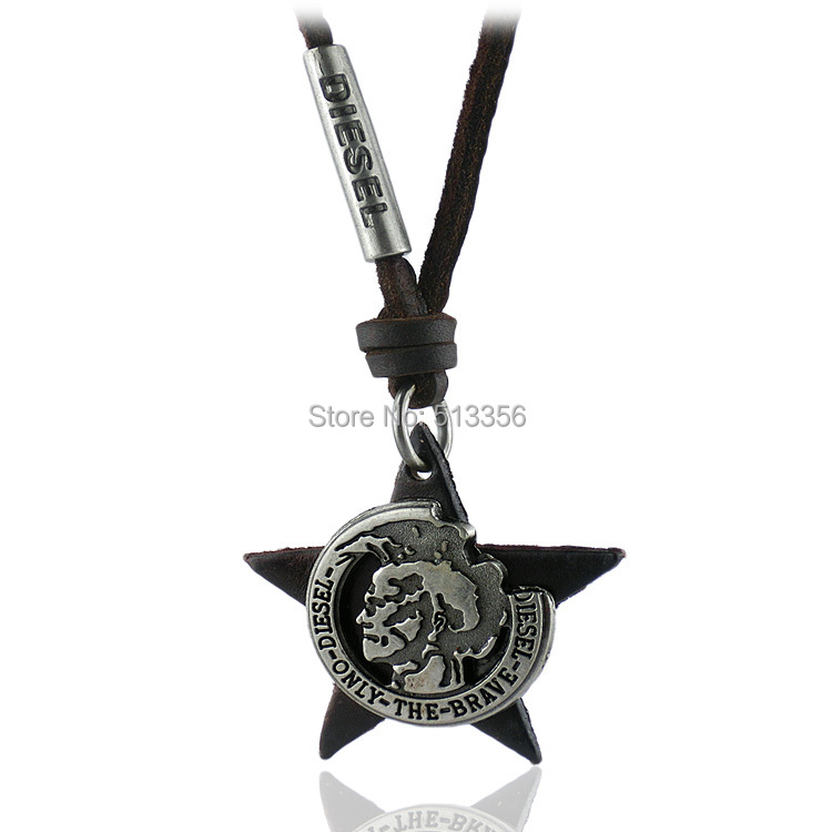 NPL-0029 vintage brve men's balck star necklace with 100% genuine cowhide rope cool men's jewelry Valentine 's Day Gift for men(China (Mainland))