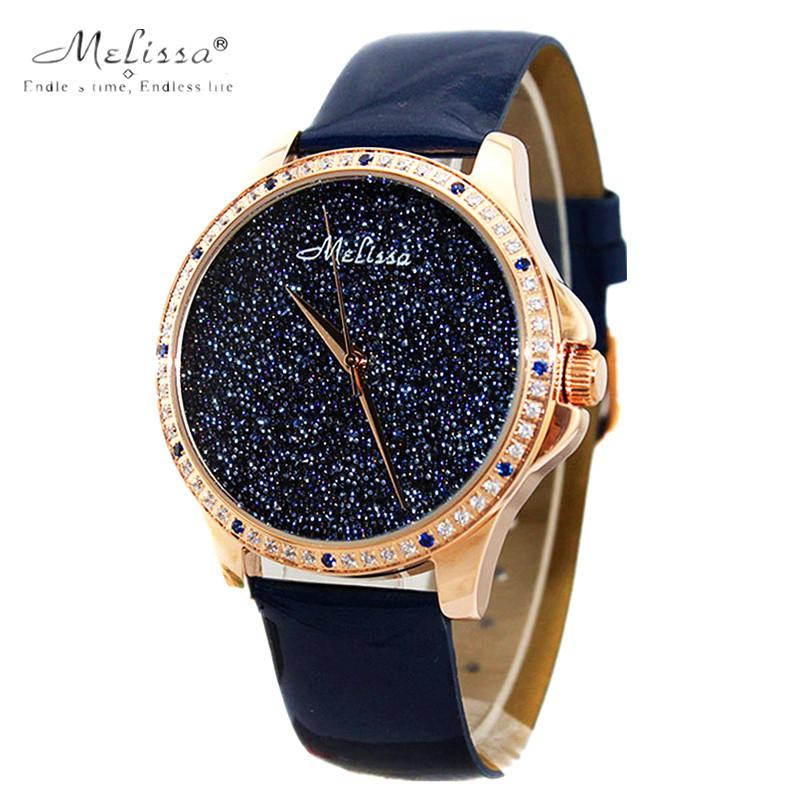 Melissa Lady Women s Wrist Watch Quartz Hours Best Fashion Bracelet Dark Blue Luxury Rhinestones Leather