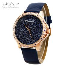 Melissa señora de la mujer reloj de cuarzo horas mejor moda pulsera de color azul oscuro de lujo de los Rhinestones regalo de cumpleaños de cuero
