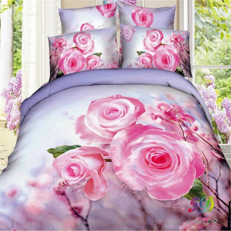 3d aquarelle peinture floral rose queen ensemble de literie filles housse de couette taie d. Black Bedroom Furniture Sets. Home Design Ideas