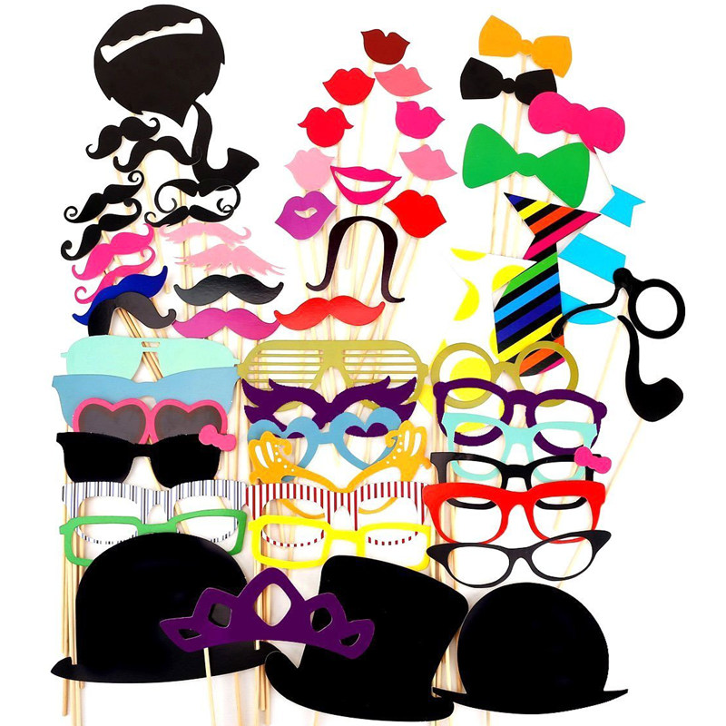 58pcs Photo Booth Props Wedding Decoration Birthday Party Kids Favors DIY Fun Mask Photography Bachelorette Event Supplies(China (Mainland))