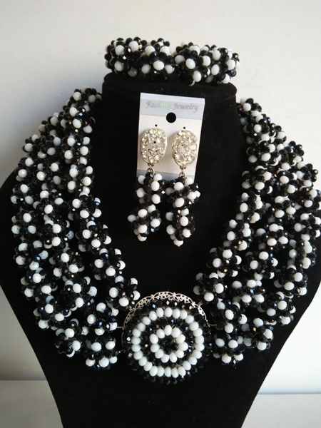 New Style Necklace/Earrings/Bracelet Nigerian women Wedding black white crystal balls Beads Jewelry Set Free Shipping A-21330<br><br>Aliexpress