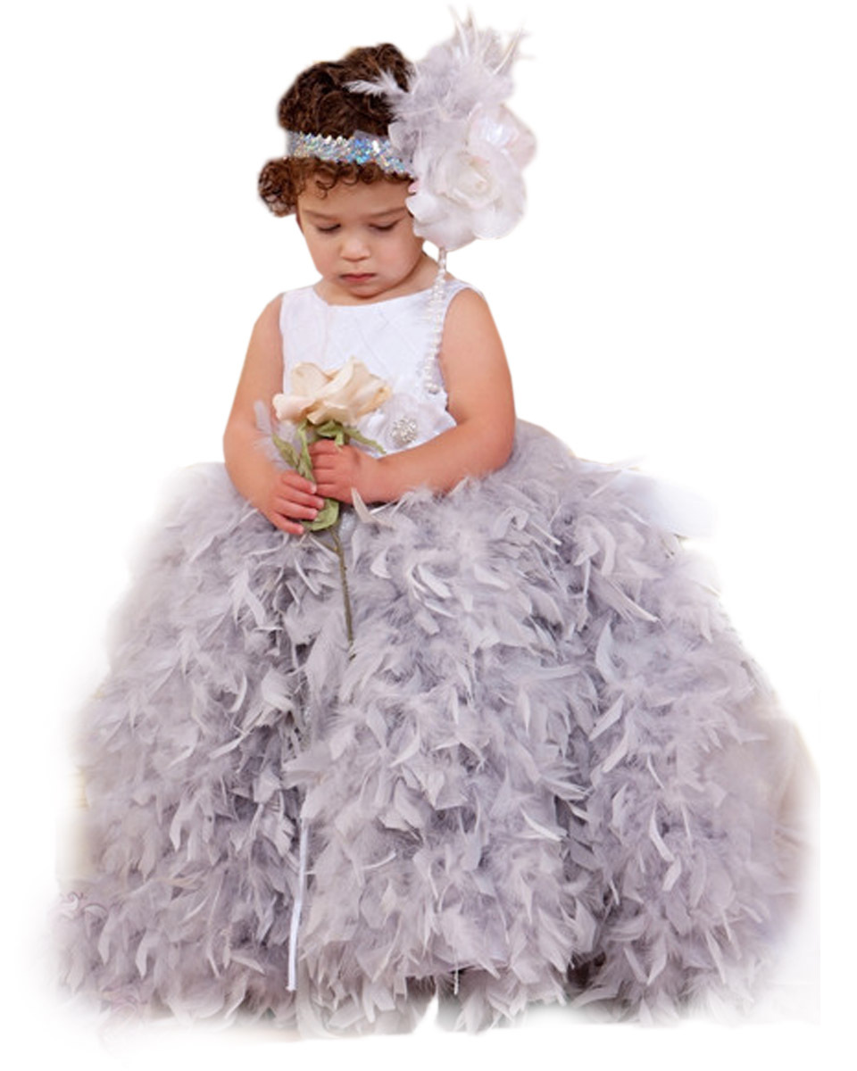 Girls Thanksgiving Pageant Dresses Spaghetti Straps Fluffy Feather Tulle Flower Tutu Baby Vestidos de bautizo 2015(China (Mainland))