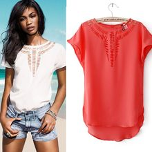 Buy New Design 2017 Ladies Blouses 10 Candy Colors Plus Size Short Sleeve Round Neck Casual Chiffon Blouse Tops Shirt Women for $2.99 in AliExpress store