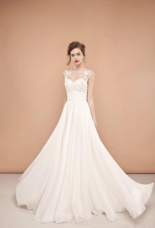 2015 Modest A Line Chiffon Wedding Dresses Cheap Asian