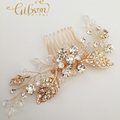 Free Shipping Crystal Flower Wedding Hair Comb Gold Bridal Headpiece Women Accessories