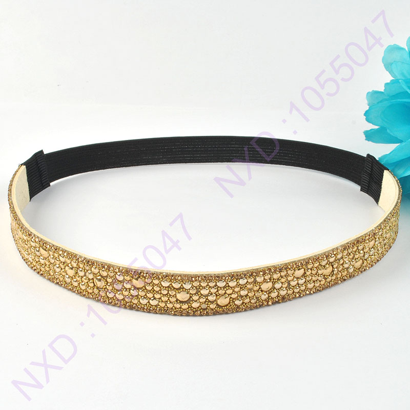 Fashion design gold rivets headbands crystal stone headband elastic headwrap hair accessories for girls/women(China (Mainland))