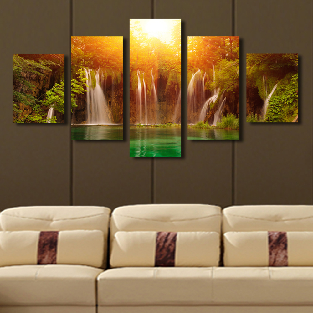 Buy 5 panel canvas art waterfall sunrise for Art painting for home decoration