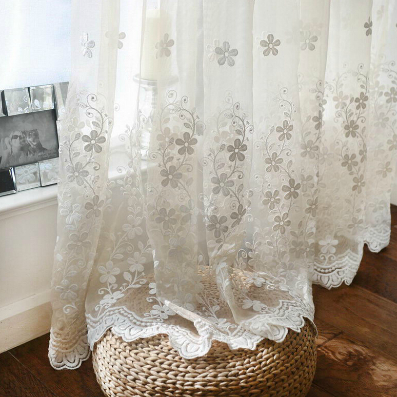 Fashion Solid Color Transparent Flower Lace Embroidered Screens Curtain Balcony High Quality