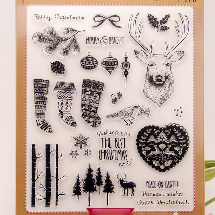 Merry Christmas Transparent Clear Silicone Stamps for DIY Scrapbooking/Card Making/Kids Crafts Fun Decoration Supplies