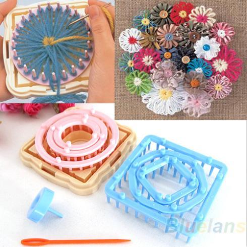 9PCS Flower Knitting Loom Knit Daisy Pattern Maker Wool Yarn Needle Home Craft Needlework 01ZE 36KV