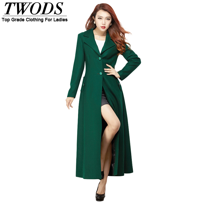 woolen women winter x-long coat  Single breasted coat 2 button golilla long sleeve with belt fashion autumn winter slim coatОдежда и ак�е��уары<br><br><br>Aliexpress