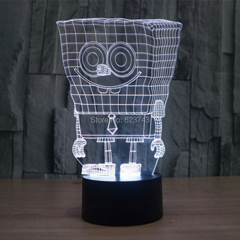 Free Shipping 7 Color changing 3D SpongeBob Squarepants Plastic LED Night Light with USB led table Lamp for children gift(China (Mainland))