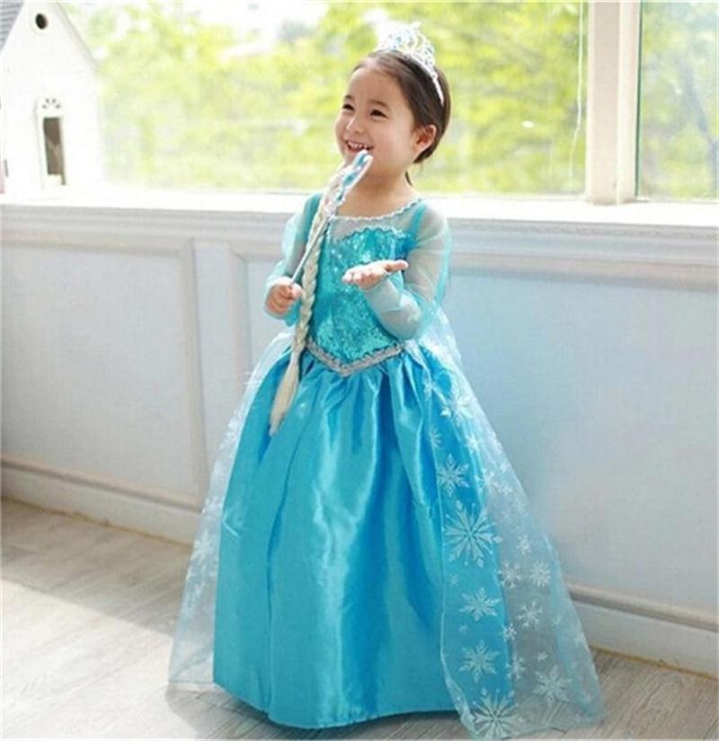 Fever Elsa Dress Summer 2016 Children Christmas Costume Kids Party Dresses For Girls Sequin Anna Snow Queen Little Girls Clothes(China (Mainland))