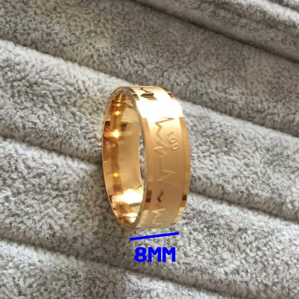 Fashion fine 8mm falling in love 316L Titanium Steel anniversary Rings 18K gold plated solid ECG hearts love ring women alliance(China (Mainland))