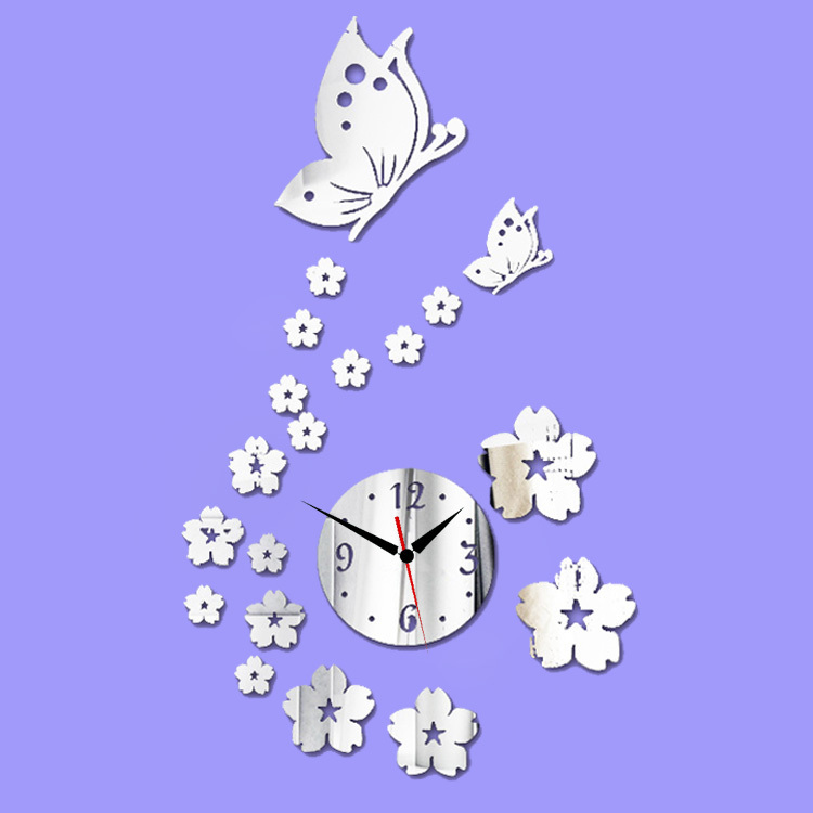 Diy 3d Clock Sticker Wall Mirror Stickers Butterflies And Flowers Tv Background Living/bedroom Home Decor Decals Decoration Art(China (Mainland))