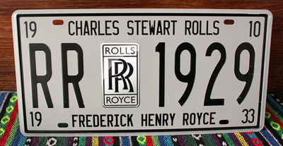 FOR CHARLES STEWEART ROLLS FRENERICK HENRY ROYCE Car License Plate Vintage Metal Tin Signs Bar Pub Cafe Home Signs 15*31cm DS01(China (Mainland))