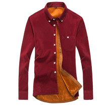 New 2016 Men Brand High Quality Winter Long Sleeve Mens Shirts Fit Warm Thick corduroy Shirts for Men Casual Men Plus SizeXXXL(China (Mainland))