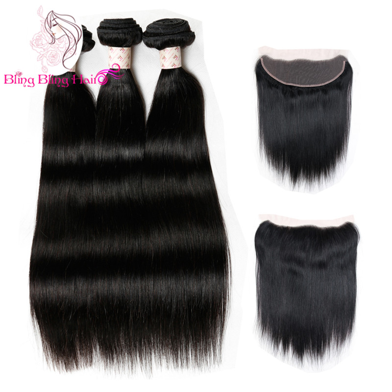 Brazilian Hair With Frontal Closure Straight Hair With Closures 13x4 Lace Frontal With 3 Bundl Cheap Lace Frontal With Bundles<br><br>Aliexpress