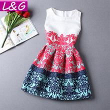19 Patterns! Women Summer Style Dress 2015 Vintage Floral Print Sleeveless Party Dresses Plus Size Vestidos de Festa Robe 10341(China (Mainland))