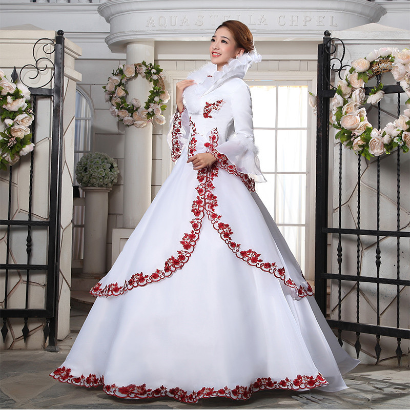 Red And White Appliques Satin Bridal Dress Ball Gown Long