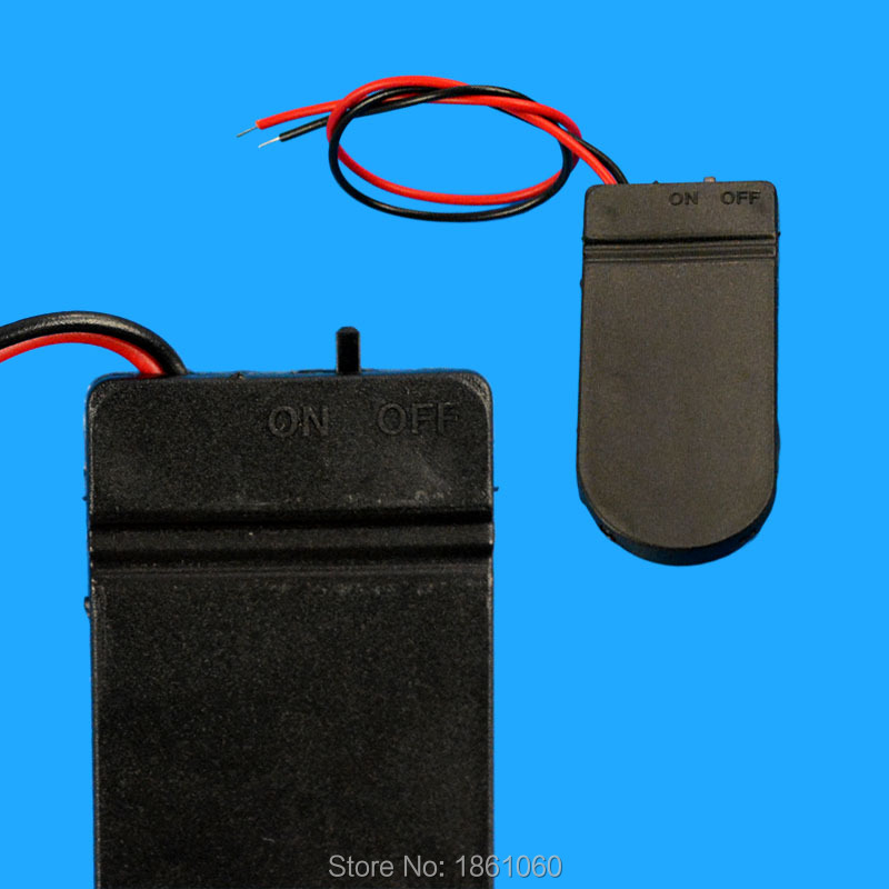 Battery Holder Case Storage Black Box Hold 2x CR2032 Button Coin Cell 6V Wire Lead ON/OFF Switch 5Pcs/Lot(China (Mainland))