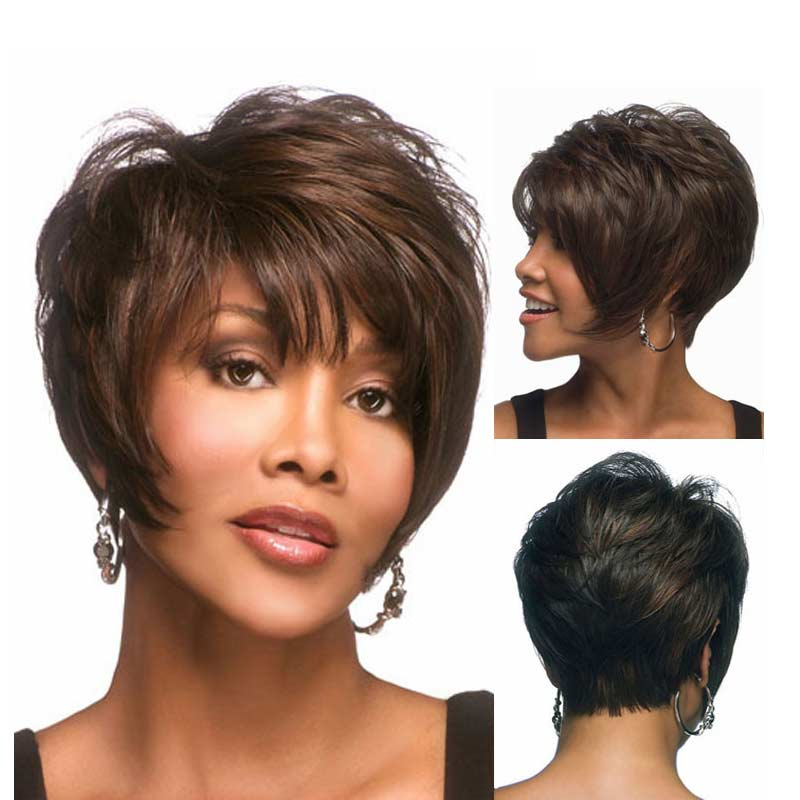 Short Wigs for Black Women Pixie Cut Wig for Women Short Cheap Afro Full African American Realistic Wig Short Hair(China (Mainland))