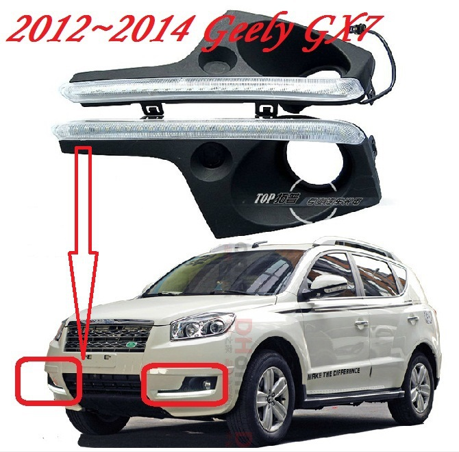 Free ship!2012~2014 Geely GX7 LED daytime running light,2pcs/SET(1pcs Left+1pcs Right+wire of harness),6000~7000K