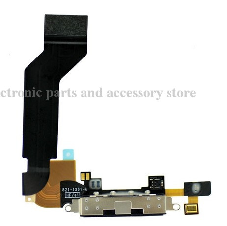 1pcs 100% gurantee original Dock connector charging port flex cable for iPhone 4S black/white(China (Mainland))