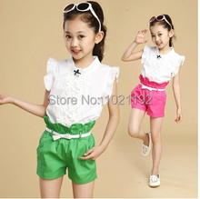 Kids girls summer 2014 new Korean version of the influx of baby clothes for children big boy casual shorts sports suit