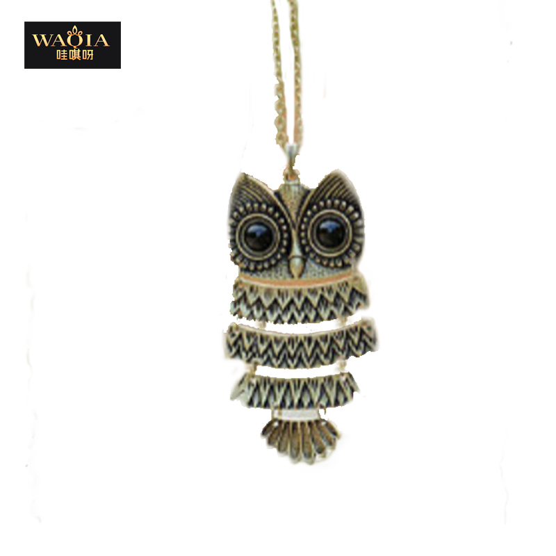 product 2015 New Fashion Korea Adorn Article Vintage Owl Pendants NecklaceAncient the Owl Sweater Chain Jewelry Free Shipping