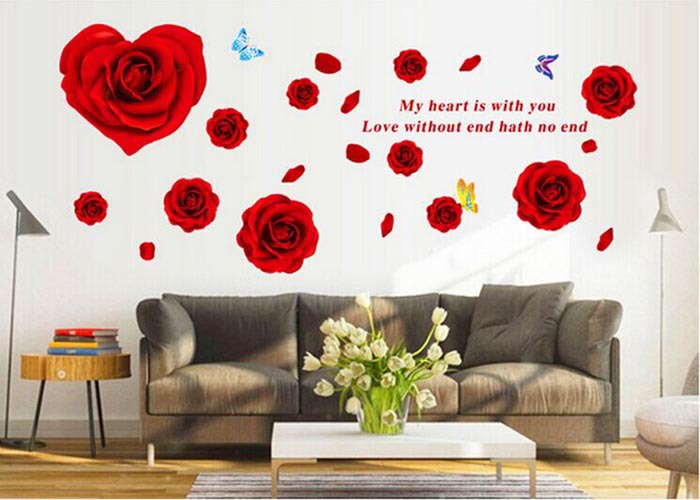 Rose decoration stickers muraux home decor pour salon for Deco chambre fille rose et noir